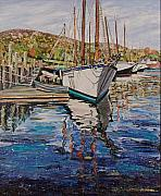 Maine Shore Painting Prints - Maine Coast Boat Reflections Print by Richard Nowak