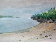 Maine Drawings Originals - Maine Coastline by Tina McCurdy
