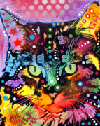 Colorful Mixed Media Prints - Maine Coon Print by Dean Russo