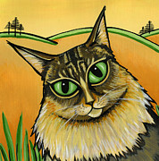 Feline Paintings - Maine Coone by Leanne Wilkes