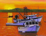 Maine Shore Painting Prints - Maine Fishing Boats at Sunset Port Clyde Painting Print by Keith Webber Jr