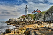 Portland Lighthouse Framed Prints - Maine Head Light Framed Print by Adam Jewell