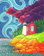 Nantucket Paintings - Maine Lighthouse by Denyse Dar