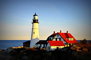 New England Lighthouse Pyrography Posters - Maine Lighthouse Poster by Meike Solomon