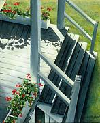 Red Geraniums Prints - Maine Porches Number Three Print by Leo Malboeuf