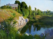 Quarry Paintings - Maine Quarry by Ron Johnston