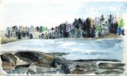 Jan Anderson Watercolors - Maine river inlet by Jan Anderson