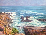 Maine Shore Painting Prints - Maine Rocks and Sea Print by Richard Nowak