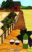Wine Bottle Glass Art Prints - Maine Vineyard Print by Jane Croteau
