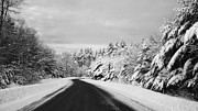 Christy Bruna Art - Maine Winter Backroad - One Lane Bridge by Christy Bruna