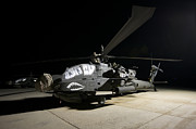 Rotor Blades Photo Prints - Maintenance Crew Work On An Ah-64d Print by Terry Moore