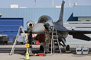 Mechanic Framed Prints - Maintenance Personel Work On An F-16 Framed Print by HIGH-G Productions