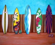 Surfing Paintings - Mairi Surfboards by Pristine Cartera Turkus