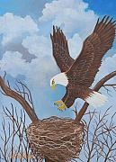 American Eagle Paintings - Majestic American Bald Eagle by Ruth  Housley