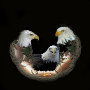Heads Digital Art - Majestic Eagles by Julie  Grace