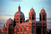 Marseille Prints - Majestic exterior of Cathedral de la Major at sunset in Marseille Print by Sami Sarkis