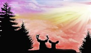 Deer Pastels Posters - Majestic Love Poster by Jerry Padilla