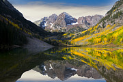 Fall Colors Autumn Colors Photo Posters - Majestic Maroon Bells Poster by Tim Reaves