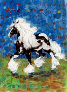 White Horses Mixed Media Prints - Majestic One Print by Mary Armstrong