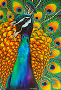 Wildlife Tapestries - Textiles Posters - Majestic Peacock Poster by Daniel Jean-Baptiste