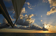 Yachting Posters - Majestic sunset from sailboat Poster by Matt Tilghman