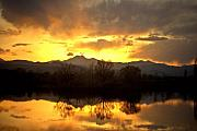 Mount Meeker Framed Prints - Majestic Sunset Reflections Framed Print by James Bo Insogna