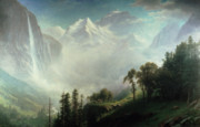 Mountaintop. Trees Posters - Majesty of the Mountains Poster by Albert Bierstadt
