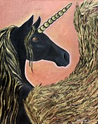Unicorn Art Paintings - Majic A Winged Unicorn by Valerie Ann