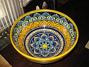 Large Ceramics - Majolica style bowl by Deirdre DeLay