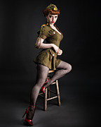 Retro Pinup Prints - Major Trouble 477 Print by Gary Heller