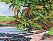Coconut Trees Paintings - Makaweli Landscape by Marionette Taboniar
