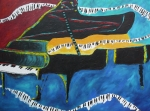 Piano Paintings - Make a Joyful Noise Grand Piano by Darlene Keeffe