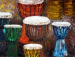 Drums Paintings - Make a Joyful Noise Hand Drums by Darlene Keeffe