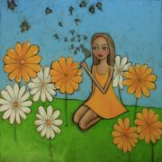 Blow Painting Prints - Make A Wish Print by Denise Daffara