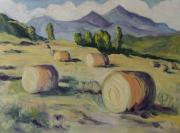 Bales Painting Originals - Make Hay While the Sun Shines by Zanobia Shalks