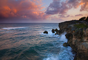 Ocean Waves Photos - Makewehi Sunset by Mike  Dawson