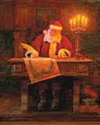Santa Claus Posters - Making a List Poster by Greg Olsen