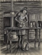 Log Cabin Drawings Prints - Making Bread in the Cabin Print by Dawn Senior-Trask