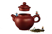 Stock Photo Digital Art Metal Prints - Making green tea on a clay teapot Metal Print by Mingqi Ge