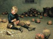 Little Boy Paintings - Making Lanterns by Edward Docker