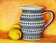 Pottery Pitcher Digital Art Prints - Making Lemonade Print by Tammy Wetzel