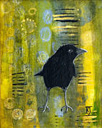 Baby Bird Mixed Media Framed Prints - Making Marks Crow Framed Print by Kathleen A Johnson