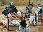 Hopi Pastels Prints - Making Piki Bread Print by Jean Hildebrant
