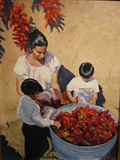 Chili Peppers Painting Originals - Making Ristras by Phyllis Bevington