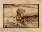 Figure Pyrography Framed Prints - Making salt Framed Print by Conrad  Pinto