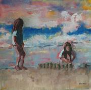 Beach Scene Painting Originals - Making Sand Castles by Donna Thomas