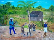 Haitian Paintings - Making Way For The Donkey by Nicole Jean-Louis