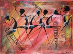 Masai Paintings - Makonde Dance 3 by Abu Mwenye