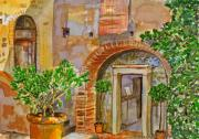 Glass Greeting Cards Prints Prints - Malabiccia Archway Wall Print by Susan Cafarelli Burke