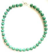 Malachite Jewelry - Malachite with Silver Pillows by Pat Stevens